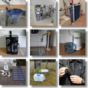 Verschiedene Wasserfiltersysteme
