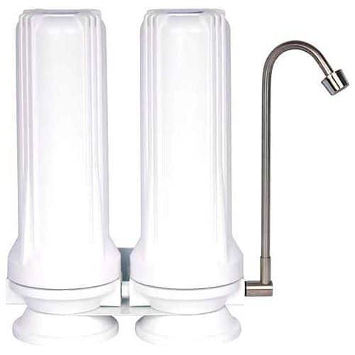 Auftisch-Wasserfilter mit zwei Filtergehäusen und Wirbleranschluss