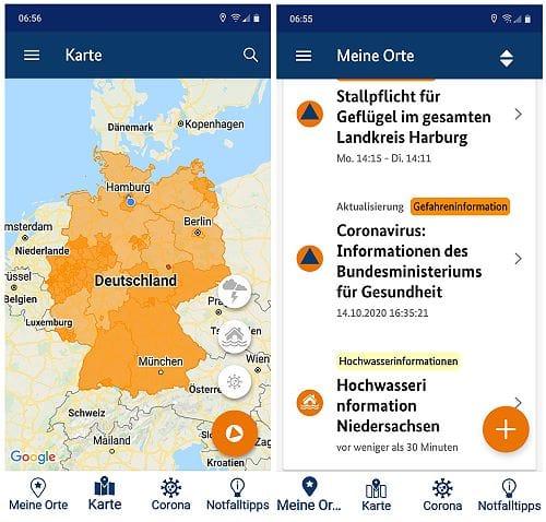 App Nina Warnmeldungen