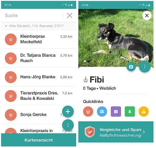 App Tierarzt in der Nähe lokalisieren