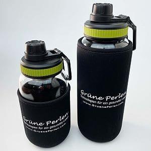Glas-Trinkflasche aus hitzebeständigen Borosilikatglas